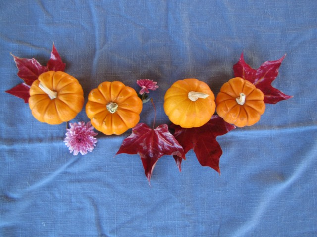 Pumpkins+leaves