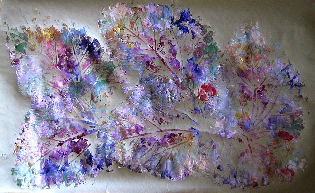 Kleas leaf printing on craft paper