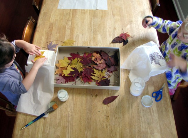 Adding pressed leaves with glue